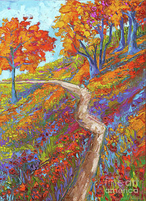 Stay On The Path - Modern Impressionist, Landscape Painting, Oil Palette Knife Original