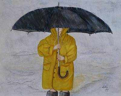 Painting - Under Daddy's Umbrella by Kelly Mills