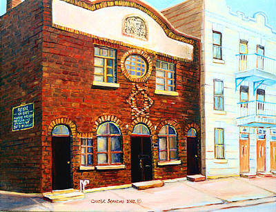 Montreal Cityscenes Painting - St.dominique Street Synagogue by Carole Spandau