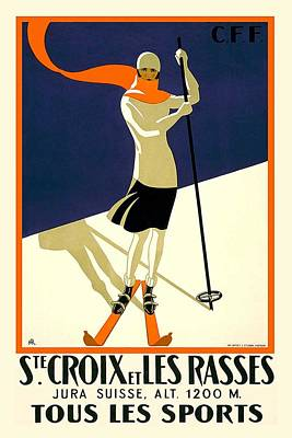 Recently Sold - Sports Royalty-Free and Rights-Managed Images - Ste Croix et Les Rasses - Tous Les Sports - Retro travel Poster - Vintage Poster by Studio Grafiikka