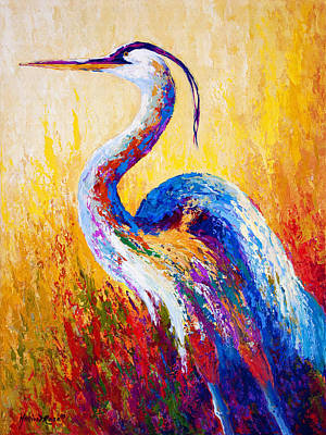 Textured Painting - Steady Gaze - Great Blue Heron by Marion Rose