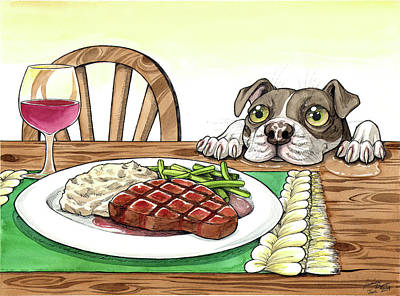 Red Wine Drawing - Steak Dinner by Jessica Pryor