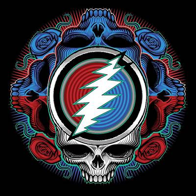 Jerry Garcia Band Digital Art - Steal Your Face - Ilustration by The Bear