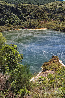 Hot Creek Photograph - Steam At A Lake In Waimangu by Patricia Hofmeester
