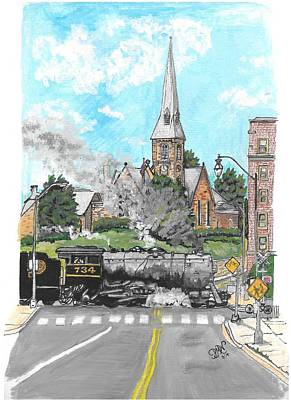 Steam At Baltimore Street Crossing Art Print by Patricia Wilt