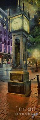 Art Print featuring the digital art Steam Clock Gastown by Jim  Hatch