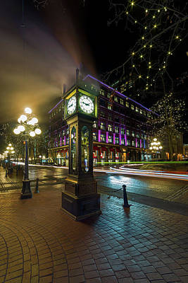 Photograph - Steam Clock In Gastown Vancouver Bc At Night by David Gn