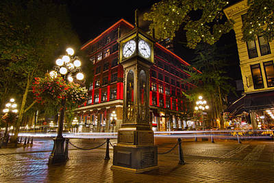 Trail Photograph - Steam Clock In Historic Gastown Vancouver Bc by David Gn