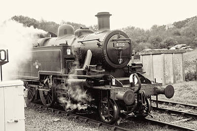 Photograph - Steam Engine 41312 Black And White by Phyllis Taylor