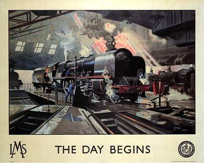 Vintage Locomotive Painting - Steam Engine Locomotive At The Terminal - The Day Begins - Vintage Advertising Poster by Studio Grafiikka