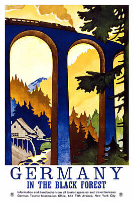 Painting - Steam Engine Train Passing Through A Tall Bridge In The German Black Forest - Vintage Travel Poster  by Studio Grafiikka