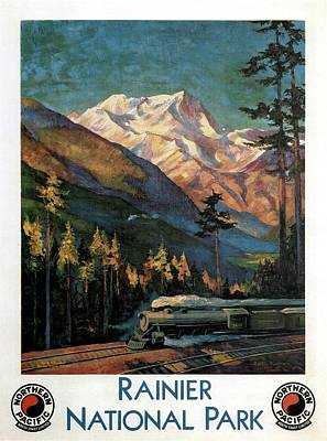 Landscapes Royalty-Free and Rights-Managed Images - Steam Engine Train Running by the Rainer National Park - Landscape Painting - Vintage Travel Poster by Studio Grafiikka