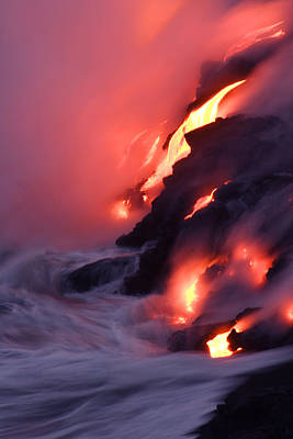 Natural Forces Photograph - Steam Fills The Air As Water Meets Lava by Steve And Donna O'Meara