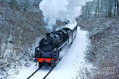 Photograph - Steam Locomotive 73129 In Snow by David Birchall