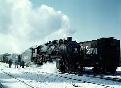 Brakeman Photograph - Steam Locomotive Leaving Chicago West 1943 by Daniel Hagerman