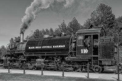 Photograph - Steam Locomotive Number 110  -  Bhc005bw by Frank J Benz