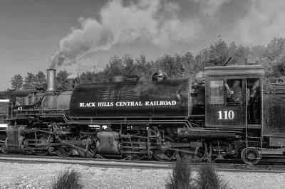 Photograph - Steam Locomotive Number 110  -  Bhc007bw by Frank J Benz