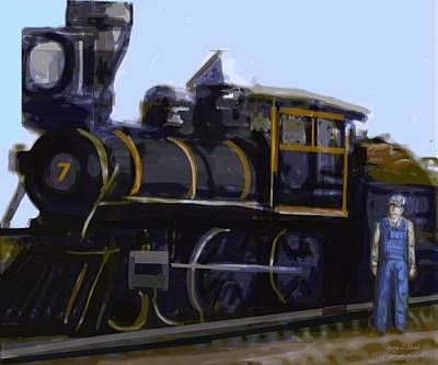 Your Home Drawing - Steam Locomotive Old Number Seven by Larry Lamb