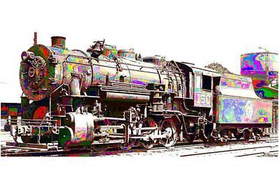Painting - Steam Locomotive by Samuel Majcen