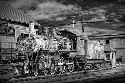 Photograph - Steam Locomotive Train Engine No.1395  In Black And White by Randall Nyhof