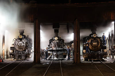 Photograph - Steam Locomotives In The Roundhouse Of The Durango And Silverton Narrow Gauge Railroad In Durango by Carol M Highsmith