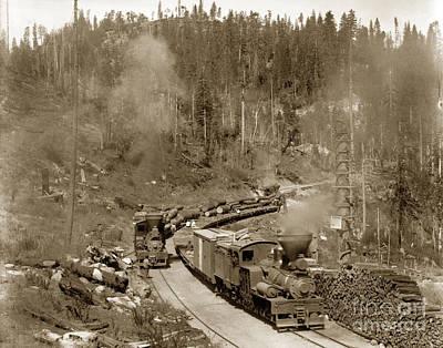 Photograph - Steam Locomotives No. 2 No. 5 Of The Madera Sugar Pine Co.  Circa 1915 by California Views Archives Mr Pat Hathaway Archives