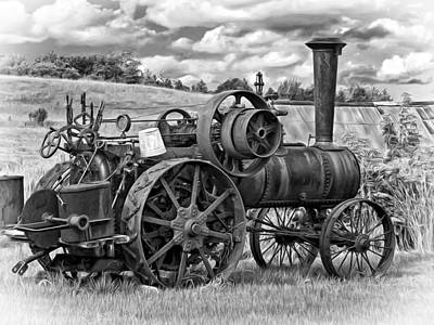 Steam Tractor Photograph - Steam Powered Tractor - Paint Bw by Steve Harrington