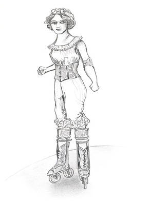 Steampunk Drawings - Steam Punk Roller Derby Girl by Katherine Nutt