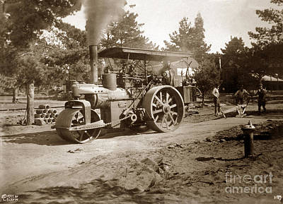 Photograph - Steam Roller, Horizontal Boiler Type, Carme, Calif. L 1922 by California Views Mr Pat Hathaway Archives
