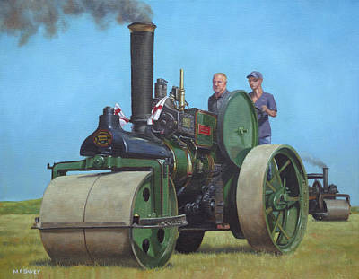 Steam Roller Traction Engine Art Print by Martin Davey