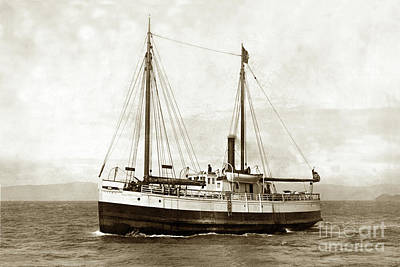 Art History Meets Fashion - Steam screw/schooner Gipsy, Circa 1900 by California Views Archives Mr Pat Hathaway Archives