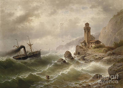 Steam Ships Painting - Steam Ship Off The Coast  by Celestial Images