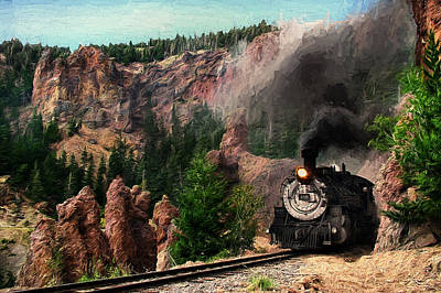 Steam Through The Rock Formations Art Print by Ken Smith