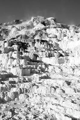 Photograph - Steam Topped Travertine Hot Spring Terraces Mammoth Hot Springs Yellowstone National Park Bw by Shawn O'Brien