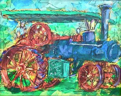 Painting - Steam Tractor by Les Leffingwell