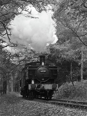 Photograph - Steam Train Approaching In Black And White by Gill Billington