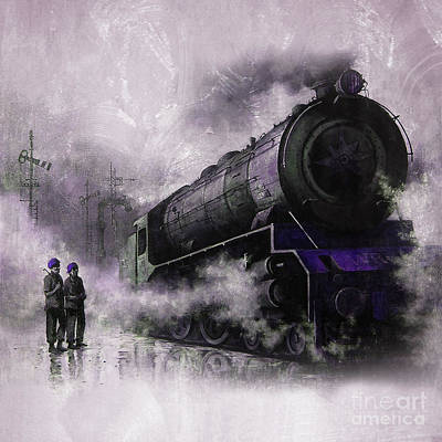 Steam Train Art 56u Original by Gull G