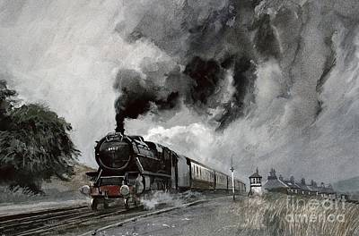 Transportation Painting - Steam Train At Garsdale - Cumbria by John Cooke