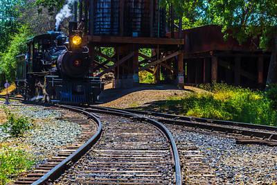 Steam Train Coming Down The Rails Art Print