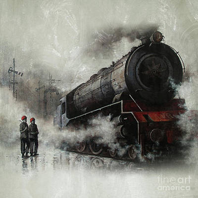 Old Street Painting - Steam Train Engine 01 by Gull G