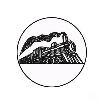 Steam Train Locomotive Coming Up Circle Woodcut Print by Aloysius Patrimonio