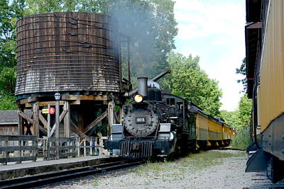 Steam Train Passing Water Tower Art Print by Stephen Path