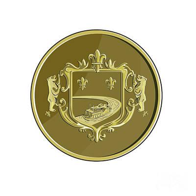 Fleur De Lis Digital Art - Steamboat Fleur De Lis Coat Of Arms Medal Retro by Aloysius Patrimonio