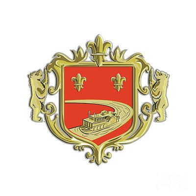 Fleur De Lis Digital Art - Steamboat Fleur De Lis Coat Of Arms Retro by Aloysius Patrimonio