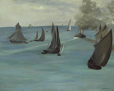 Steamboat Painting - Steamboat Leaving Boulogne by Edouard Manet