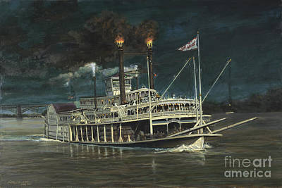 Steamboat Painting - Steamboat On Mississippi by Don Langeneckert