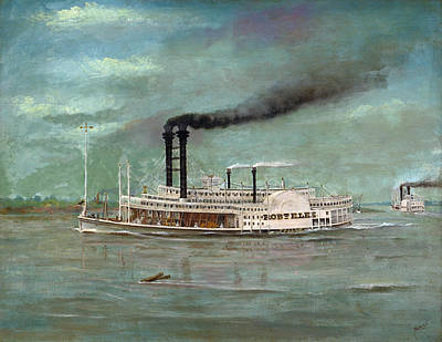 Steamboat Painting - Steamboat Robert E Lee by War Is Hell Store