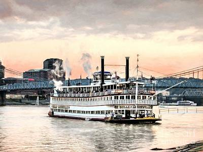 Photograph - Steamboats At Cincinnati by Mel Steinhauer