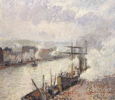 French Signs Painting - Steamboats In The Port Of Rouen, 1896  by Camille Pissarro