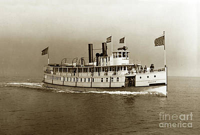 Photograph - Steamer Arrow On San Francisco Bay 1905 by California Views Mr Pat Hathaway Archives